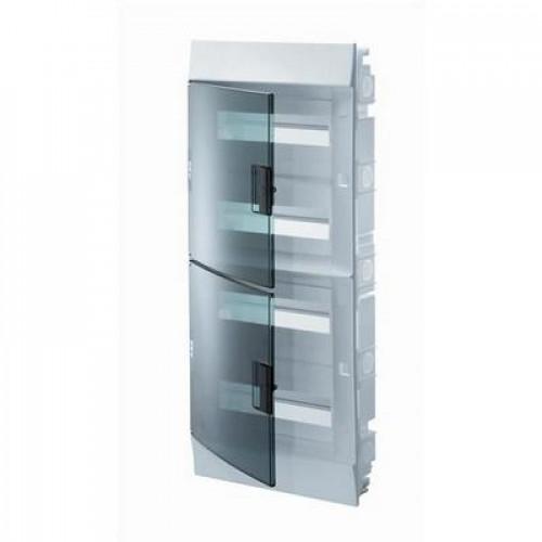 Бокс встраиваемый ABB Mistral41, 48-модулей, пластиковый, прозрачная дверь, с клеммами