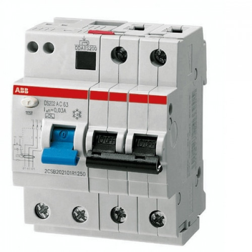 Дифференциальный автомат ABB DS202 A C10 A30 двухполюсный на 10a 30ma (тип A)