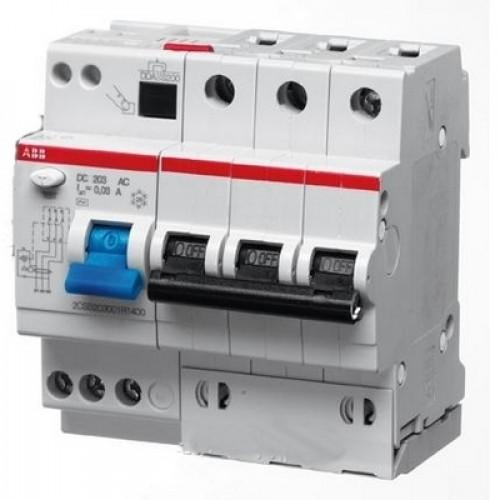 Дифференциальный автомат ABB DS203 B10 AC30 трёхполюсный на 10a 30ma (тип AC)