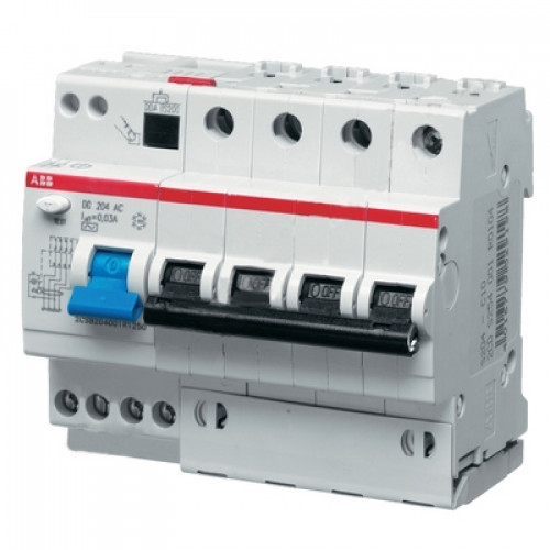 Дифференциальный автомат ABB DS204 A C25 A30 четырёхполюсный на 25a 30ma (тип A)