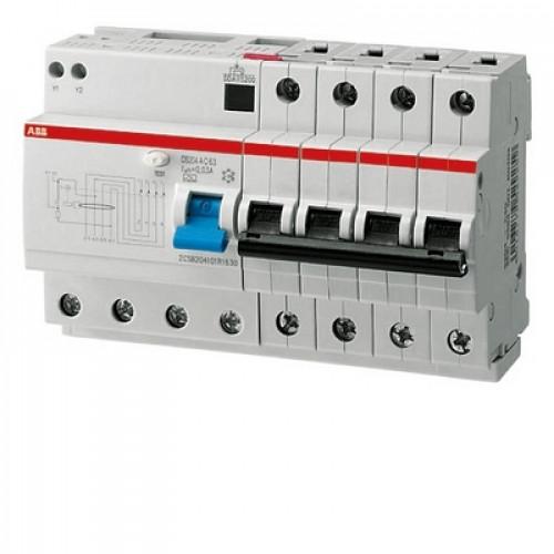 Дифференциальный автомат ABB DS204 C63 AC30 четырёхполюсный на 63a 30ma (тип AC)