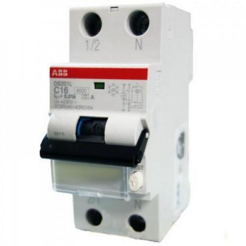 Дифференциальный автомат ABB DS201M C16 AC30 однополюсный на 16a 30ma (тип AC)