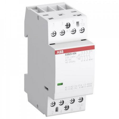 Контактор модульный ABB ESB-25-40N-07 (25А АС-1, 4НО), катушка 400В AC/DC