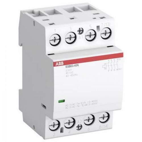 Контактор модульный ABB ESB-63-40N-07 (63А АС-1, 4НО), катушка 400В AC/DC
