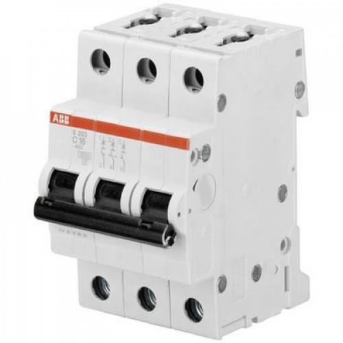 Автоматический выключатель ABB S203 C1.6 трёхполюсный на 1.6a